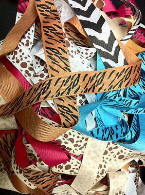 Grosgrain ribbon 7/8 inch animal prints  2 yards of 10 prints, 20 yds