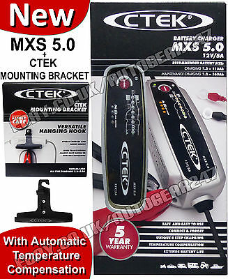 NEW CTEK MXS 5.0 12v Car Bike Caravan Smart Automatic Battery Charger +M Bracket
