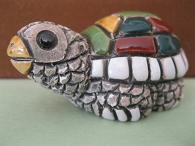 Vintage Handmade Gray Yellow Green White Red ish Turtle Figurine with Black Eyes