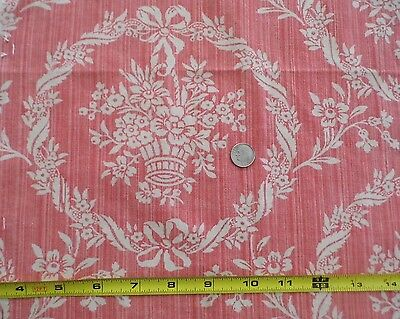 Two Antique Beautiful French 19thC Floral Basket Toile Textile~Pillow, Home