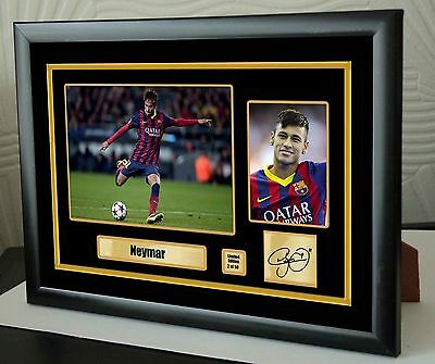 "Neymar Framed Canvas Print Signed Limited Edition  ""Great Gift"""