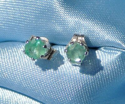 ROUND EARTH MINED  EMERALD STUDS HANDCRAFTED  4.0mm EARRINGS IN STERLING SILVER