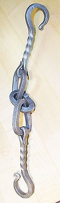 Wrought Iron,Chain with Hook Ends,3 links Hanger, Hand Forged by Blacksmiths