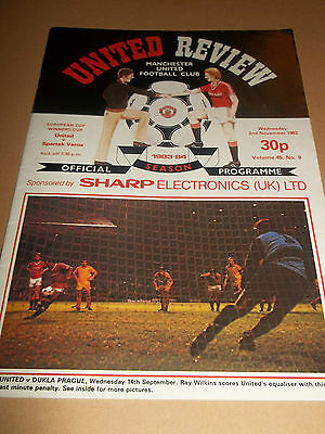 Manchester United V Spartak Varna ( European Cup Winners Cup ) Programme 1983