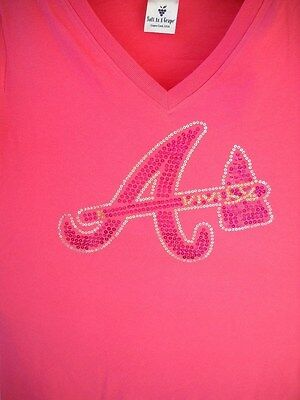ATLANTA BRAVES GIRLS YOUTH MEDIUM SIZE 10 A/TOMAHAWK PINK V-NECK SEQUINS T-SHIRT