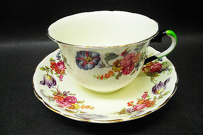 VTG. TUSCAN PLANT TEA CUP AND SAUCER SCALLOPED EDGE CREAM COLOR WITH FLORAL