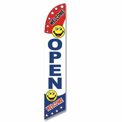 Windless Swooper Flag OPEN WELCOME Red/White/Blue/Smileys