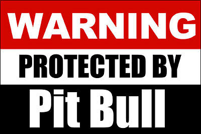 3x5 inch Warning Protected PIt Bull Sticker - decal dog staffordshire pitbull