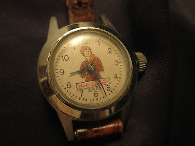 Authentic VINTAGE DAVY CROCKETT WRIST WATCH appears ORIGINAL BAND for parts only