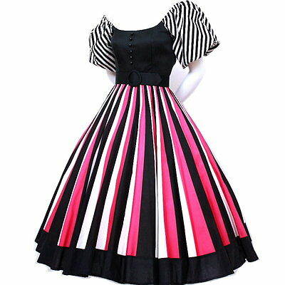Vintage 1980s 80's does 50s Victor Costa Avant Garde Color block Swing PROM dres