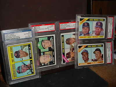 lot of (5) TOPPS 1966 SIGNED AUTO  ROOKIE   baseball CARDs PSA/DNA SLABBED  L@@K