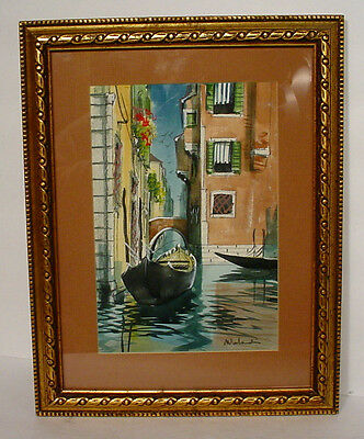Beautiful Quality Hand Painted Water Color Venice Boat Water Canal Painting