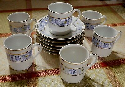 (6)Vintage China tea cups and saucers(expresso size)Delicate powder blue pattern