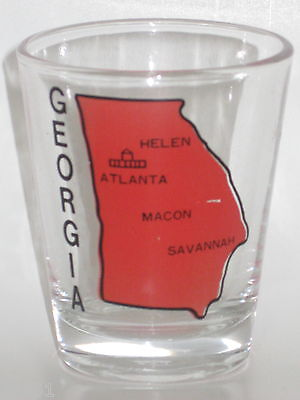 RED GEORGIA STATE MAP WITH CITIES SOUVENIR SHOT GLASS - VG