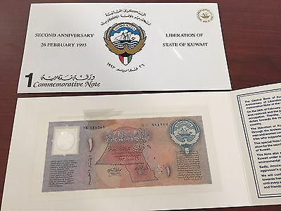 Kuwait 1 Dinar 1993 Polymer Commemorative Unc Note + Folder -Free Shipping