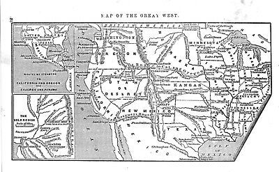 Map of the Great West   -  Showing Routes and Trails  -  1856