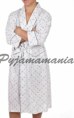 MENS BATH ROBE / DRESSING GOWN White/Blue Sz S M L XL