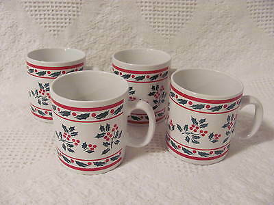 """Christmas Holiday Holly Berries White Cups Mugs 3-3/4"""" tall 3-1/4"""" dia -set of 4"""