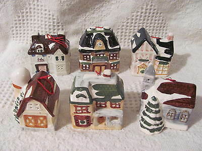 "Christmas Ceramic Village Houses Light Covers Ornaments, set of 6, 2-1/2"" to 3"""