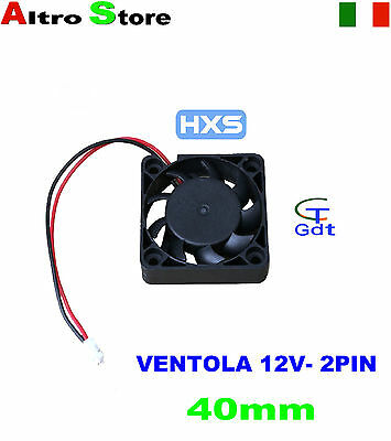 VENTOLA 40MM 2 PIN RAFFREDDAMENTO PC NOTEBOOK LAPTOP 12V 24dB 6000RPM 80mA 2CFM