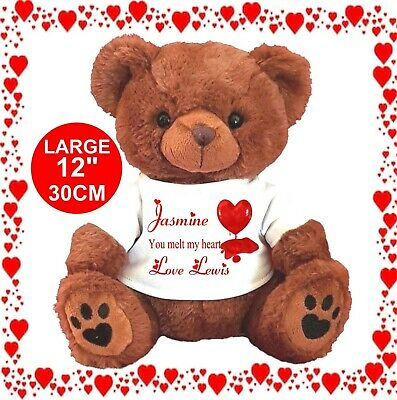 """Personalised Teddy Bear Brown 25Cm/10"""" Sitting You Melt My Heart Valentines Day"""