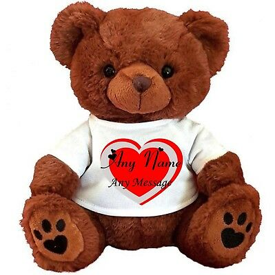 """Personalised Teddy Bear Brown 25Cm/10"""" Sitting Valentines Day Gifts Birthday"""