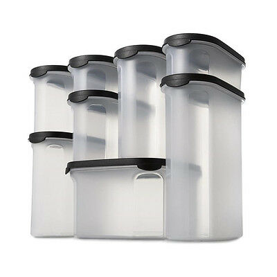 8 Piece Pantry Set Food Container Storage Canister BPA Free Clear Black 2.7L