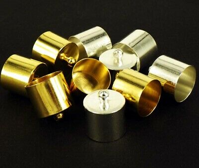 20 SILVER OR GOLD Plated Necklace Cord End Tip Caps Big 14X16MM C52