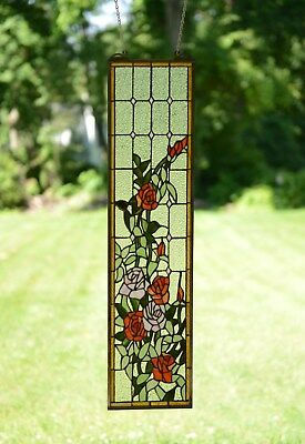 """9"""" x 36"""" Handcrafted stained glass window panel Rose Flowers"""