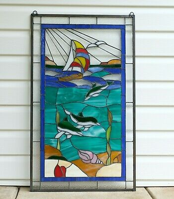 """20"""" x 34"""" Dolphin Boat Seashore Beach Tiffany Style stained glass window panel"""