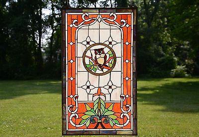 "20"" x 34"" Large Tiffany Style stained glass window panel owl on the tree"