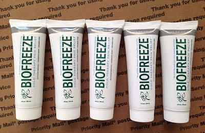 BIOFREEZE COLORLESS Gel Tube 4 oz PAIN RELIEF Lot of 5 New/Fresh #11817/11816