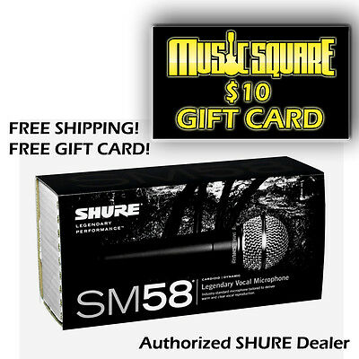 """Shure SM58 (Dynamic Vocal Microphone) w/ FREE $10 GIFT CARD! """"Gift for Musician"""""""