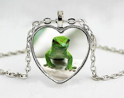 Green Gecko Silver Heart Shaped Photo Pendant with Silver Chain