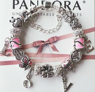 Authentic Pandora Silver Charm Bracelet with Love Charms Beads Heart.