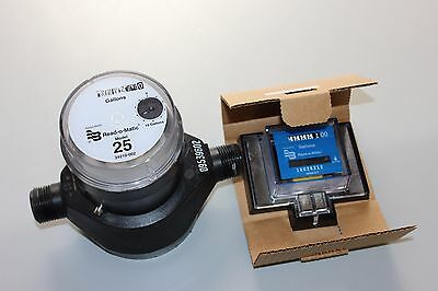 """Badger 5/8 x 3/4"""" Plastic Water Meter Reads Gallons Used W/Remote"""