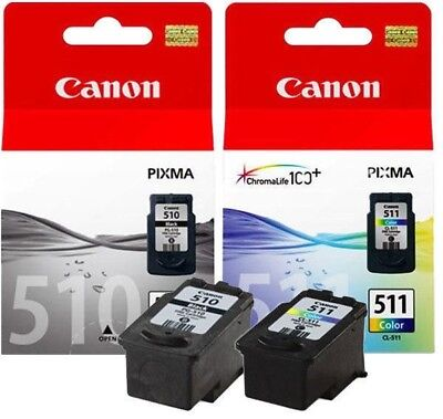 2 CANON GENUINE INK PG510 CL511 MP240/MP250/MP270/MP495 MP230 mx350 510 511