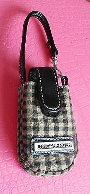 Longaberger Plaid Tan & Browns Cell Phone Carrying Case  Fabric Leather