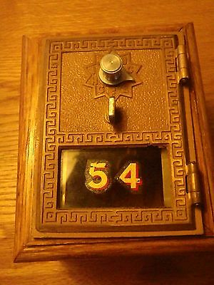 ANTIQUE Vintage US POST OFFICE MAIL BOX DOOR COMBINATION BANK WOOD and BRASS