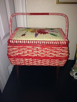 Vintage Weaved SINGER Sewing Box Caddy - Red and Rare