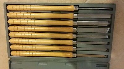 "Heavy Set of 8 Long Delta Wood Lathe Chisels in Plastic Case @ 21"" Long NICE!!!!"