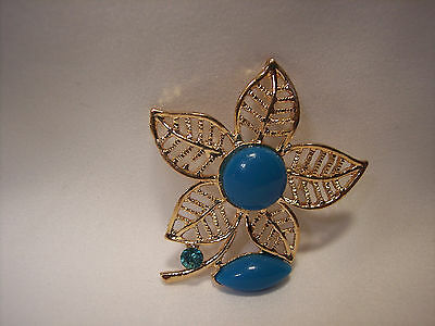 S-5158 Flower Leaf Brooch with Turquoise Cabochons and Crystal NEW
