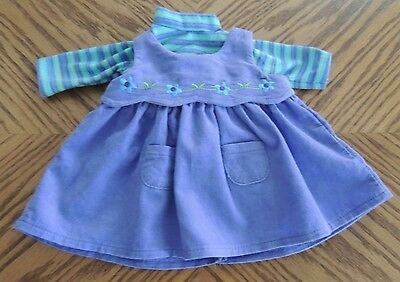 American Girl Bitty Baby Twin Purple Cord Dress, Striped Shirt Retired 3+