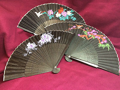 8 x Vintage Oriental Chinese Art Painting Black Fabric Fans collectable theatre