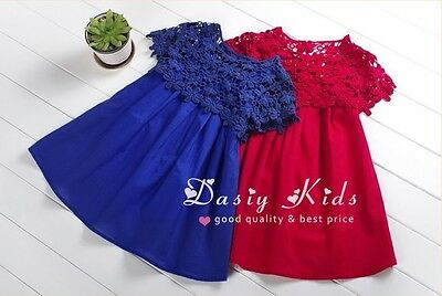 New Baby Girls Pageant Lace Embroidered Floral Solid Color A-Line Dress Blue Red