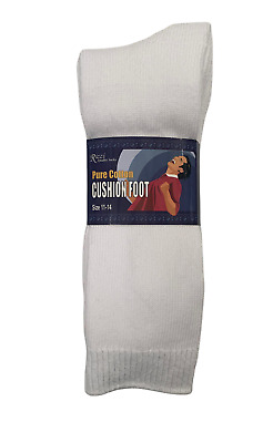 MENS Thick Cushion Foot Cotton Long Work Socks sz 6-11, 11-14 All White