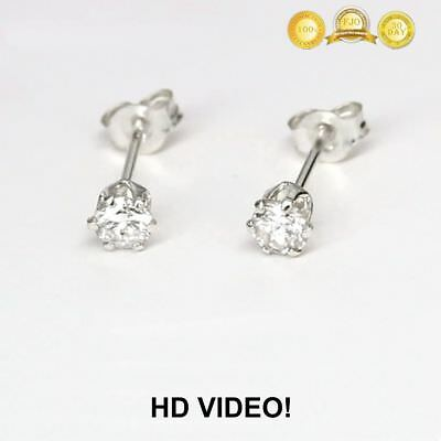 0.18Ctw. Genuine Diamond Brilliant Cut Solitaire Studs 14K White Gold /Video
