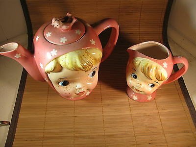 Vintage Miss Cutie Pie Teapot and Creamer combo
