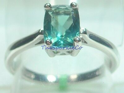 1.75 ct Natural Fluorite Solitaire Ring Platinum / .925 Size 8