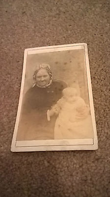 Vintage Antique CDV Photo ~  old  woman and child:
